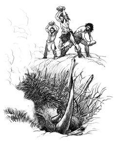 A group of Neanderthal men catch a Woolly Rhinoceros in a pit trap by Luca Tarlazzi