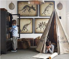 boys, tent, dinosaur prints, play room