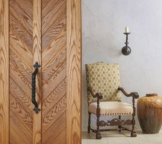 TruStile Spanish Colonial Door Collection - in Wire-brushed White Oak with V-groove panels Stucco Interior Walls, Stucco Walls, Interior And Exterior, Interior Design, Custom Interior Doors, Small Porches, Porch And Balcony, Spanish Colonial, Spanish Revival