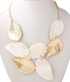 This Leaf cluster Neck piece would work great for a day out with friends. White Necklace, Neck Piece, Necklace Online, Leaves, Friends, Stuff To Buy, Accessories, Jewelry, Amigos