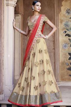 Beige & Red Badla Zari Butas Lehenga Choli Online ,Veeshack.com | Fashion for the World - 1
