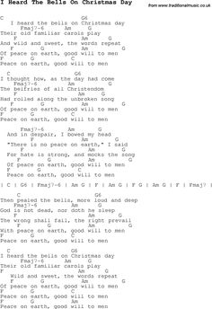 Christmas Songs and Carols, lyrics with chords for guitar banjo for I Heard The Bells On Christmas Day