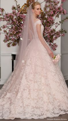 legends romona keveza bridal spring 2017 illusion off shoulder cap sleeves deep vneck lace ball gown (l7133) bv blush color low back -- Legends Romona Keveza Spring 2017 Wedding Dresses #pinkdress #pink #romantic