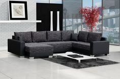 Canapé d'angle convertible tissu chiné gris anthracite et noir simili cuir… Outdoor Sectional, Sectional Sofa, Couch, Canape D Angle Design, Canapé Angle Convertible, Outdoor Furniture Sets, Outdoor Decor, Decoration, Coin Tv