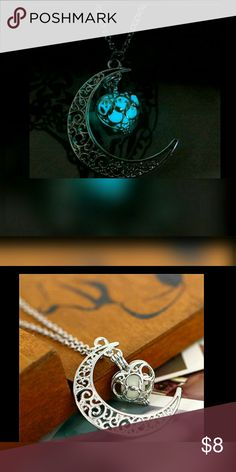 """Glowing Necklace Pretty moon shaped pendent that holds a heart shaped charm that glows in the dark. Chain approx 19"""" long. Moon approx  1"""". Fun! Jewelry Necklaces"""
