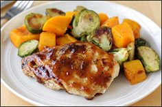 Hungry Girl's Apricot-Glazed Chicken with Squash & Brussels Sprouts... only five ingredients!