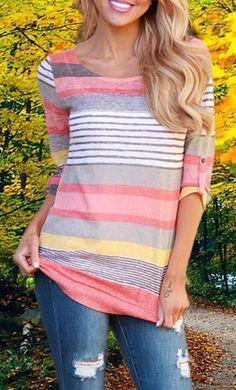 Striped 3/4 Sleeve Pullover Knitwear