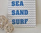 Beach Sign-Coastal Sign-Sea, Sand & Surf Sign-8 x 8 Wooden Gray Chevron Sign
