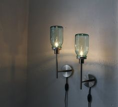 TWO BLUE - Set of 2 antique aqua Mason Jar Wall Sconce Lights - Industrial Stainless Steel - UpCycled BootsNGus Design Lighting Fixture. $115.00, via Etsy.