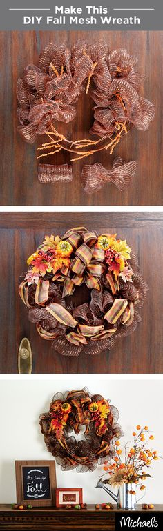 Decorate your home with the colors of autumn! This Fall wreath comes together in just a few simple steps. First, add mesh ribbon to the pre-wired wreath form. Next, weave decorative ribbon throughout. Finish with fall leaf & pumpkin picks for a welcoming décor piece! Find all the supplies you need at your local Michaels store.