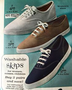 Shoes Sport Sneakers - Travel back to the swinging for look at women's shoe styles. Flats to go go boots. Stiletto heels to Mary Janes and more vintage classics. Vintage Sneakers, Retro Sneakers, Girls Sneakers, Vintage Shoes, Girls Shoes, Vintage Style, Vintage Classics, 70s Style, Shoes Women