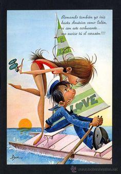 Ilustrador: *Asun*  Ed. C. y Z. serie 7050. Escrita. Vintage Postcards, Vintage Ads, Vintage Romance, Romance And Love, Picture Postcards, Illustrations, Cute Illustration, Big Eyes, Cartoon Drawings