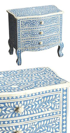 Classic elegance gets a lively reimagining. Covered in a wealth of bright blue and cream floral patterning, the charming traditional silhouette of this Genevieve Bone Inlay Accent Chest truly pops. Wit...  Find the Genevieve Bone Inlay Accent Chest, as seen in the Bohemian Sanctuary Collection at http://dotandbo.com/collections/bohemian-sanctuary?utm_source=pinterest&utm_medium=organic&db_sku=123269