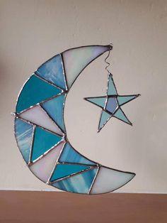 Moon and Star stained glass mosaic suncatcher sun catcher Crescent moon lunar gift Iridescent glass shimmer