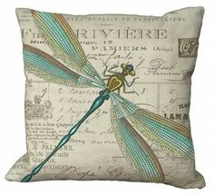 Dragon Fly Canvas Pillow