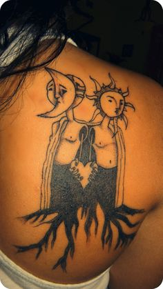 the sun & the moon are male & female & togther they are harmonious so im waiting for my sun to come along(: my first tattoo & it hurt over the bone but it was worth it (: