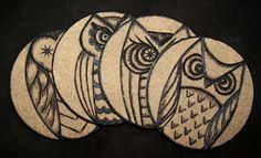 Owl cork coasters wood burned design by littlesisterscrafts, $25.00