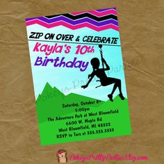 Girls ZIPLINE Birthday Party Invitation Invite