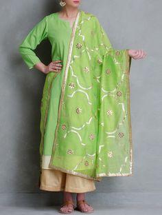 Buy Green Gota Patti Jali Cotton Dupatta Online at Jaypore.com