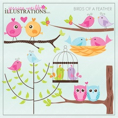 Birds of a Feather Cute Digital Clipart for Card Design, Scrapbooking, and Web Design. $5.00, via Etsy.