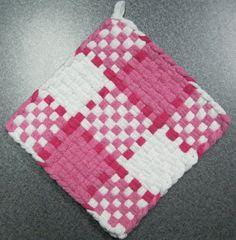 Pink Plaid Woven Potholder