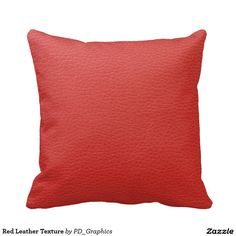 Red Leather Texture Throw Pillows