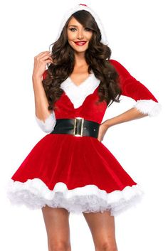 Newest Red Dress 2017 Christmas Costumes Sexy Santa Baby Crystal Velvet Holiday Dress With Belt One Size santa claus costume Hooded Dress, Belted Dress, The Dress, Dress Long, Dress Girl, Christmas Dress Women, Holiday Dresses, Christmas Outfits, Christmas Holiday