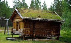 Holzhaus mit Grasdach