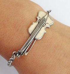 Steampunk Violin Bracelet Sterling Silver Ox Finish by BellaMantra