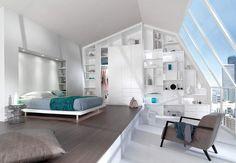 Du rangement jusqu'au plafondUtilisez toute la surface du mur, en installant une bibliothèque et des rangements jusqu'au plafond. Résultat : pas de perte de place avec ces étagères intégrées !