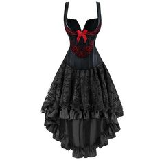 The Atomic Two Piece Romantic Corset and Skirt features a Goth inspired black corset with an intricate Red floral pattern, a square bust line with wide over the shoulder straps for maximum support, red bow detail, and cut work in front. The back is ribbon lace up with a modesty panel.  https://atomicjaneclothing.com/products/atomic-two-piece-red-and-black-corset-and-skirt