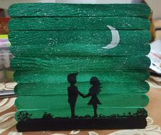 love under the light of the moon Lolly Stick Craft, Craft Stick Crafts, Fun Crafts, Diy And Crafts, Popsicle Stick Art, Pop Stick, Art N Craft, Creative Artwork, Easy Paintings