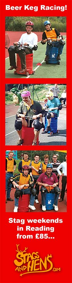 Beer keg racing Stag weekend. Use our Quick Quote app to build your own Stag do package in Reading...