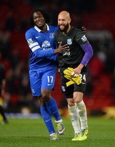 Romelu Lukaku and Tim Howard of Everton FC