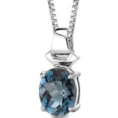 London Blue Topaz Pendant Necklace Sterling Silver Oval Shape 3.00 Carats >>> Click on the image for additional details. (This is an affiliate link) #ILoveJewelry