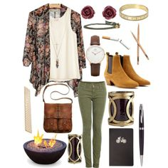 Flowy floral cardigan, a white tank top, olive green skinny jenas, and tan booties.