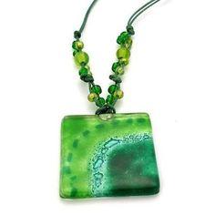 Emerald Sun Translucent Square Fused Glass Pendant Necklace - Tili Glass