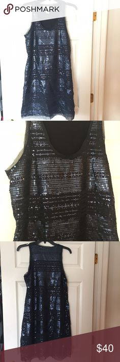 Navy Sequin Dress Super fun and sparkly dress! Only worn once for a wedding! Full sequins. Max Studio Dresses Mini