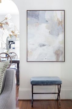 A white and blue abstract wall art mounted on a white finished wall enhances a living room over a blue bench with iron legs finished with a velvet upholstery. Grey Abstract Art, Blue Abstract Painting, Grey Art, Blue Art, Room Wall Painting, Texture Art, Blue Texture, Wall Art Designs, Art Decor