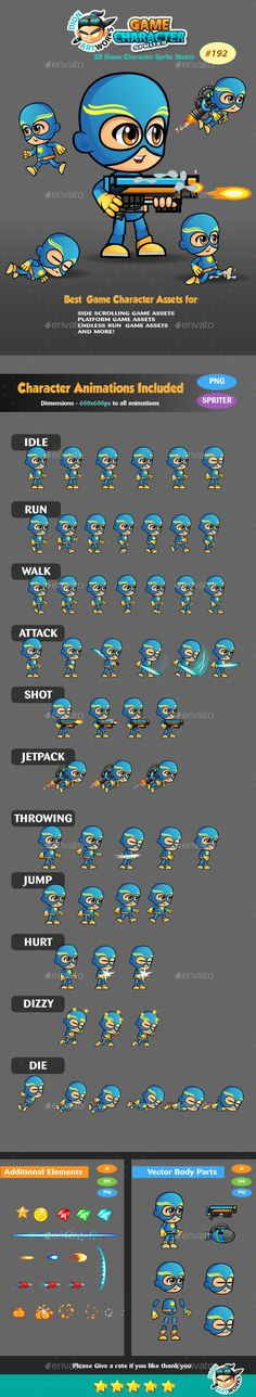 Super Boy 2D Game Character Sprites 192 — Vector EPS #ios #soldier • Available here → https://graphicriver.net/item/super-boy-2d-game-character-sprites-192/15019208?ref=pxcr