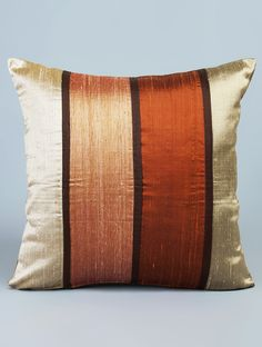 Buy Rust-Orange Silk Stripes Cushion Cover 15.5in x 16in Online at Jaypore.com