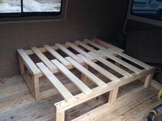 wooden slatted bed camper van - Google Search