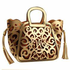 Cut Out Double Tassel Tote Purse Handbag Basket Bag