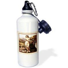 3dRose Print of Leonardo Painting The Swan, Sports Water Bottle, 21oz