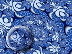 Kimono With Ball by Pam Blackstone - Illustration Abstract & Patterns ( dish, abstract, ball, oriental, swirl, art, plate, sphere, japanese, chinese, curves, arcs, kimono, spirals, orb, curls, ming, fractals, blue and white, china )