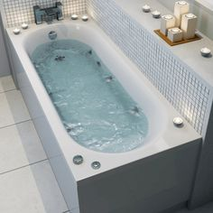 Hot baths are great, but the water holds even more benefits if you get it moving. A whirlpool system works by re-circulating bath water through a number of jets to provide streams of bubbled water. This one is the Ceramica 1600mm Single Ended Curved Bath with 6 Jet Whirlpool. Available on special order.