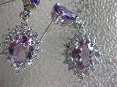 "30.45 CT. GEMS+SETTING Natural Amethyst Sterling 925 Silver Drop Earrings 1.25"" #Handmade #DropDangle"