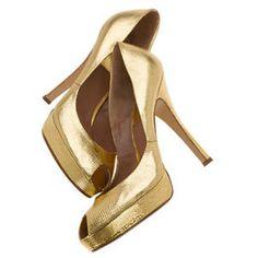 Gold Platform Peep-Toe Pumps by Laurence Dacade