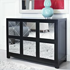 Powell Furniture Mirrored 6 Drawer Black Wood Console 233 660 Lowest Price