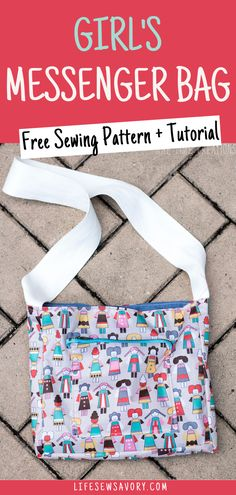 Make a small messenger style bag for the little ones in your life. Free printable pattern to make a cute little bag for your kids to carry all their treasures. Sewing tutorial and free pdf pattern to make your own bag. Purse Patterns Free, Bag Pattern Free, Bag Patterns To Sew, Kids Messenger Bags, Messenger Bag Patterns, Sewing Ideas, Sewing Projects, Kids Purse, Diy Handbag